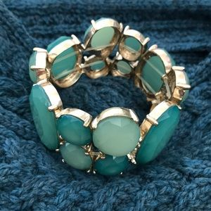 Gold and Turquoise Stretch Cuff Bracelet